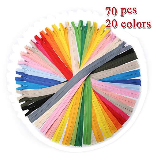 KING DO WAY 70 pcs Reißverschlüsse Gemischte Nylon 40 cm lang, 2.5cm breit Schneider, 20 Farben, ErsatzReißverschlusses fürKleidungTasche Kissenbezug