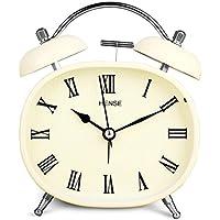Reloj despertador de mesa con movimiento de cuarzo silencioso y campanillas gemelas estilo retro vintage.
