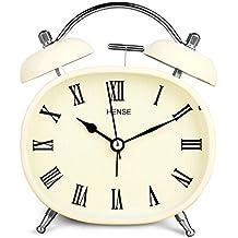 Reloj despertador de mesa con movimiento de cuarzo silencioso y campanillas gemelas estilo retro vintage. Reloj despertador para escritorio de habitación con dial analógico, números romanos y luz nocturna, HA04 de Hense