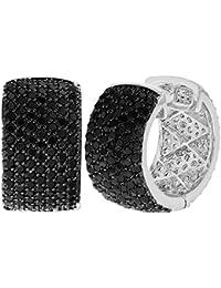 Chapado en rodio Micro circonitas cristal negro Pendientes de mujer Aro ancho 18 mm