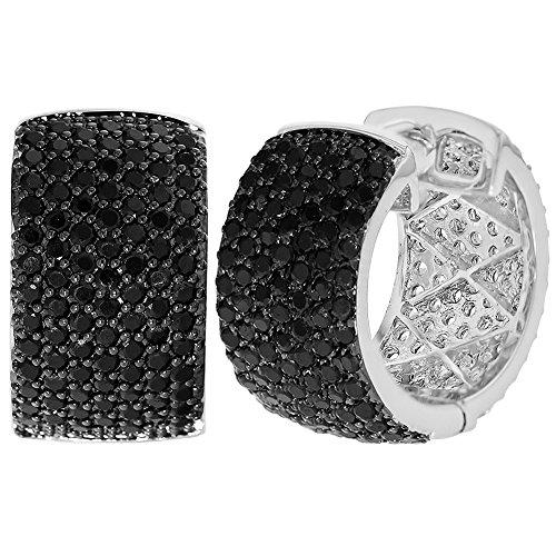Chapado en rodio Micro circonitas cristal negro Pendientes de mujer Ar