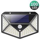 Solarlampen für Außen,【270 ° Vierseitige Beleuchtung- 3 Modi】iPosible 100 LED Solarleuchte mit Bewegungsmelder Solar Wasserdichte Wandleuchte Solar Aussenleuchte Solarlicht für Garten, Hof