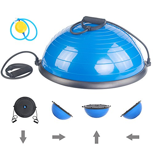 ISE Balance Trainer Exercise Ball with Resistance Straps-Workouts, Yoga, Strength and Balance Training