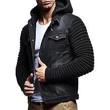 LEIF NELSON Chaqueta con Capucha del suéter con Capucha de la Chaqueta del Dril de algodón