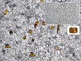 Natursteinteppich-Fliese Exclusive Dekor : ERDE Hellgrau versetzt mit Heilstein Tigerauge - flexible Bodenfliese für Innen und Außen aus italienischem Marmorkies, Teppichfliese, Marmorteppich, Terassenboden - 1m² Paket (4 Stück 50x50 cm)