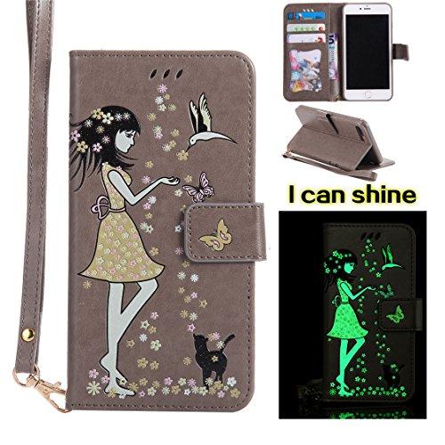 iPhone 7 Plus Custodia Case, iPhone 7 Plus Copertura, PU Leather Flip di cuoio Protezione completa Stand case Portafoglio con slot per schede / ( Luce al buio )Ragazza farfalla gatto / rosso Grigio