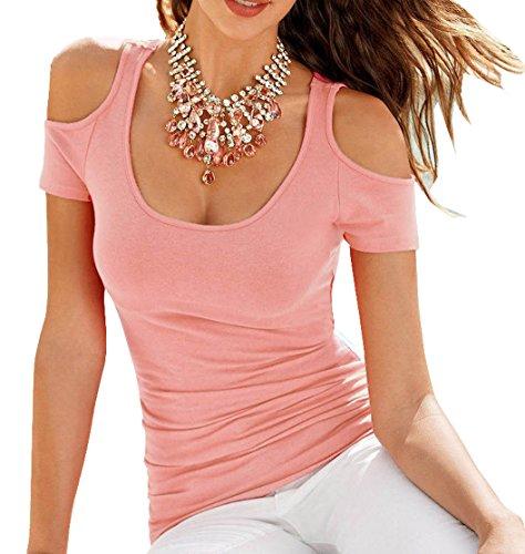 Sommer Neu Damen Sexy Rundhals Schulterfrei Volltonfarbe Kurzarm Bustier Bluse T-Shirt Tunika Longshirt Tops Hemden Oberteile Rosa