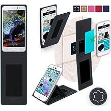 Funda para Jiake N9200 en Cuero Negro - Innovadora Funda 4 en 1-Anti-Gravedad para Montaje en Pared, Soporte de Smartphone en Vehículos, Soporte de Smartphone - Protector Anti-Golpes para Coches y Paredes sin necesidad de herramientas o pegamento - Funda de Reboon para Jiake N9200 Original