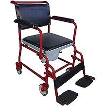 Silla WC con ruedas | Modelo Ancla | Acero | Ancho de asiento: 44cm | Con tubos en burdeos