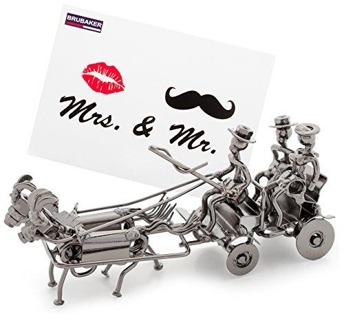 BRUBAKER Hochzeitskutsche Metall Skulptur mit Geschenkkarte