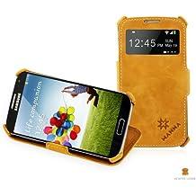 Flipcase per Samsung Galaxy S4 - Custodia estremamente sottile rivestita in Vero Cuoio genuino e cuciture bianche rifinite a mano con finestra S-View e funzione di sostegno - Colore Marrone