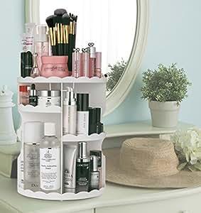 jerrybox rangement de maquillage tournant 360 d gres ajustable large capait blanc amazon. Black Bedroom Furniture Sets. Home Design Ideas