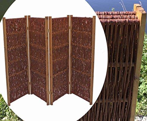 bambus-discount.com Raumteiler aus Weiden, Paravent Höhe 150cm x Breite 180cm, 3 teilig - Raumtrenner mobiler Sichtschutz