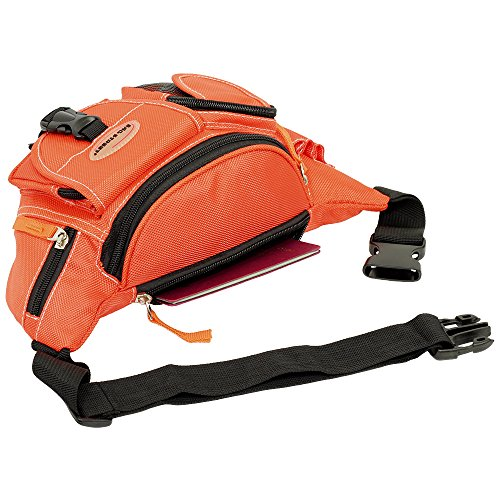 Geschenkset - exklusiver Greenland Nature Schlüsselanhänger + Herren & Damen Bag Gürteltasche Bauchtasche Angeltasche Wimmerl Tasche Farbe schwarz orange