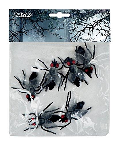 Set Tiere 6 Fliegen Schwarz (Halloween Tischdekoration Preiswerte)