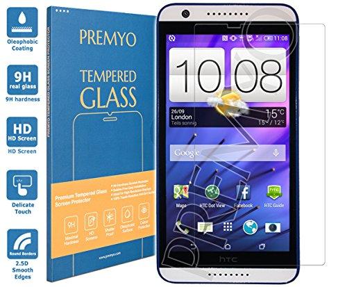 PREMYO Panzerglas Schutzglas Bildschirmschutzfolie Folie kompatibel für HTC Desire 820 Blasenfrei HD-Klar 9H 2,5D Gegen Kratzer Fingerabdrücke