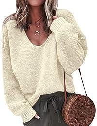 Maglione Donna Maglia Scollo V Maglioni Oversize Pullover Maglieria Golfino  Donna Maglione Trecce Pesanti Ragazza Larghi 9141b5ec49c