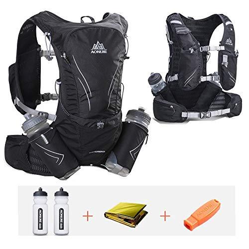 CLCYL Hydration Pack Rucksack, Wasserbeutel Rucksack, 14 Taschen Marathon Vest Water Bag 15L Wasserdicht geeignet für Fitness Running Klettern Camping Ski Bike Wandern,Black