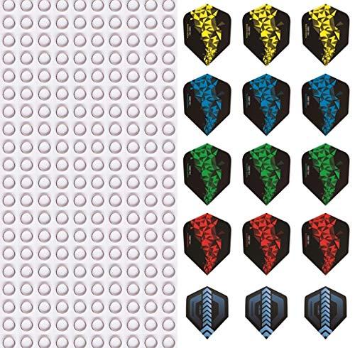 ToBeIT Shaftringe 200 Stücke und Dart Flights 15 Stücke- Federringe Springs Ringe Dart Zubehör Edelstahl Shaft O Ringe für Nylon Dartschäfte plus 5 set Darts Shafts in Standard form.