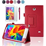 """SAVFY Samsung Galaxy Tab 4 7.0 7-inch Leather Case Cover and Flip Stand, Bonus: + Screen Protector + Stylus Pen + SAVFY Cleaning Cloth (for Galaxy Tab 4 7"""" INCH T230/T231/T235, WiFi or 3G+WiFi) (flip stand RED)"""