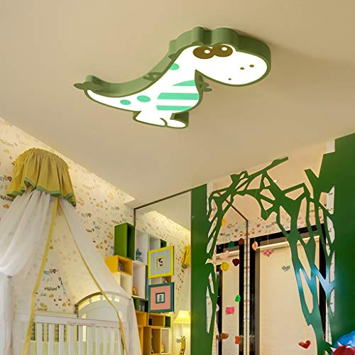 ☝XDD Cartoon Kinder Deckenleuchte, Dinosaurier Form LED Augenschutz 2 Arten von Licht Auswahl Kronleuchter 426 (Farbe : Grün, größe : Tricolor Light) -