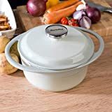 Berndes 1504101 Round Casserole Dish with Lid, 20cm, 2.4 Litre, Cast Iron, Light Green