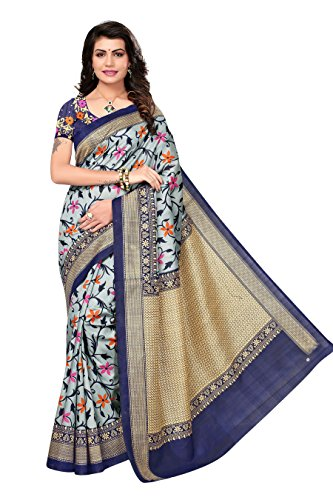 OOMPH! Art Silk Saree With Blouse Piece (rbks_festival065_navy_Sapphire Blue_Free Size)