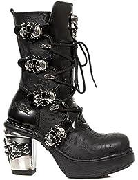 New Rock M.8366-S1 Señoras Calavera Negra Botas con Cordones de Cuero de