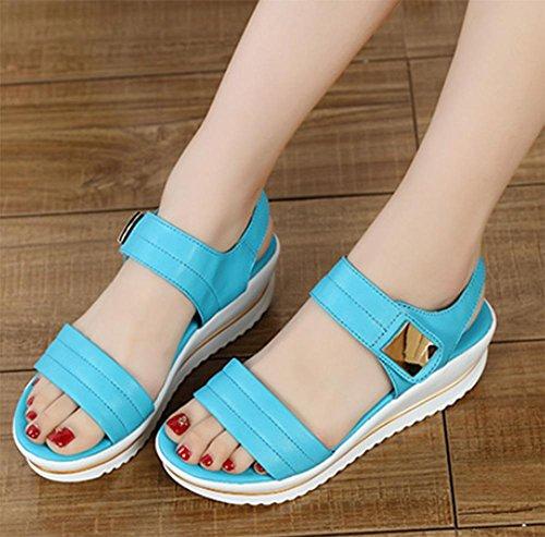 Mme sandales d'été Secoua un confort accru à fond épais et généreux sandales et pantoufles Microfibre Blue