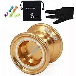 MAGICYOYO N6 Magistrado de aluminio profesional yoyos Yoyo bola + 5 + Guantes Cuerdas regalos de los niños del juguete de la muchacha del muchacho - oro
