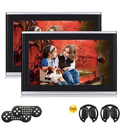 Eincar 2x 10,1 pouces double num¨¦rique HD Multimedia Moniteur Lecteur DVD voiture appui-t¨ºte int¨¦gr¨¦ HDMI / USB / SD Port + Jeux avec une paire de casque IR T¨¦l¨¦commande