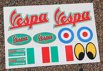 VESPA ROLLER stil sticker aufkleber set Italienische Flagge Piaggio