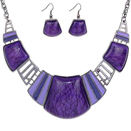 YAZILIND Vintage Ethnic Tibetan Sliver Purple Turquoise Bib Collar Earrings Necklace Jewelry Set Women