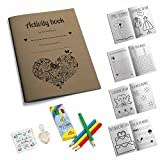 Kids wedding activity pack , vintage kraft A5 children's activity book including pencils and bubbles