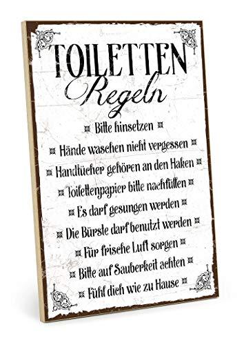 TypeStoff Holzschild mit Spruch - TOILETTEN-Regeln - im Vintage-Look mit Zitat als Geschenk und Dekoration zum Thema Toilette, Klo, Pipibox (M - 19,5 x 28,2 cm)