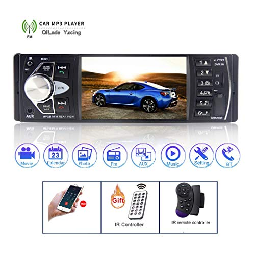 Rm Video Converter (QILade Yzcing Autoradio 4,1 '' Digital Screen Autoradio 1 Din Auto Audio Stereo Autoradio FM Bluetooth Unterstützung Lenkrad Fernbedienung Intelligent Dynamic Trajectory Reverse Camera)