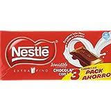 Nestlé - Chocolate con Leche Extrafino - Pack de 3 x 125 g - [Pack