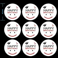 90 Pcs Happy Birthday Stickers, Smiley Face Sticker,Round Stickers, Happy Birthday Envelope Round Seal Decorative Label Stickers by CSC@C