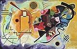 Migneco & Smith l'Affiche ILLUSTRE'E Tela Canvas Kandinsky Giallo Rosso Blu Serigrafia su 100% Cotone di Spessore gr.500 cm. 120 x 74 con Estensione Tela, cod.527, spedita piegata Senza Telaio