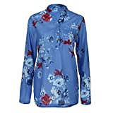 VJGOAL Damen Pullover, Damen Übergröße Bluse Mode Chiffon Drapierte Bluse Blumen Lange Tunikabluse Mode Trend Reifen Bluse(Blau,34)
