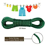 #8: AllExtreme 20 meter PVC Coated Steel Anti-Rust Wire Rope Washing Line Clothesline with 2 Plastic Hooks(Green)
