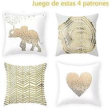 Anself - 4pcs Juego de Funda de Cojín 45x45cm para Decoraciones de Cama Sofá, Color en Dorado y Blanco