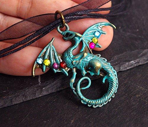 collier-pendentif-dragon-patin-vert-de-gris-ras-de-cour-organza-noir-heroic-fantaisy-bijou-cosplay-g