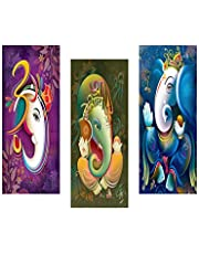 SAF Ganesha Modern Art 6MM MDF Framed Set of 3 Digital Reprint 15 inch x 18 inch Painting SANFJ39