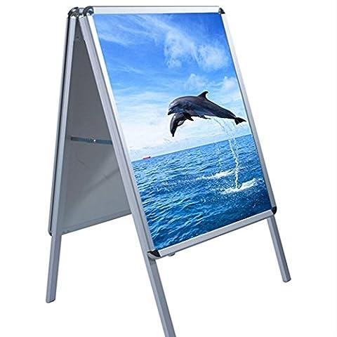 Anaelle Pandamoto Chevalet Porte-Affiche A1 en Auminium sur Boutique, Ecole, Bureau de Poste, café, Taille: 594x841mm, Poids: 5kg, Argent