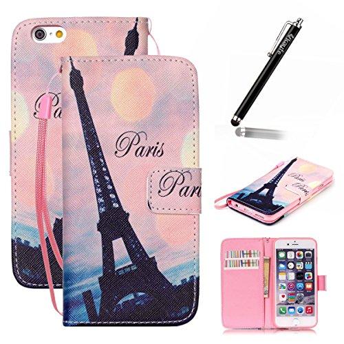 Copertura per iphone 6 Plus in pelle, iphone 6S Plus Custodia Portafoglio, iphone 6 5.5 Case Cover , Ukayfe rosa-Dandelion Dreaming Design dellunità di elaborazione di vibrazione del cuoio di protez rosa-Lalba della Torre Eiffel