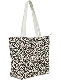 c36039649a85c VERO MODA Damen Canvas Shopper Tasche mit Animal-Print Strand Tasche