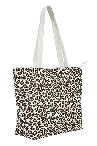 VERO MODA Damen Canvas Shopper Tasche mit Animal-Print Strand Tasche (One Size, Snow White) - Print-tasche