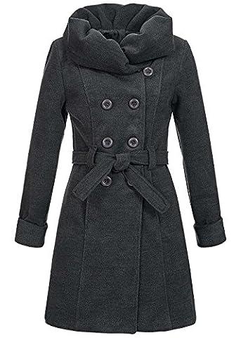 Violet Fashion Damen Fleecefutter Mantel Zweireiher Gürtel zum binden Schalkragen 2 pockets, dunkelgrau, Gr. S