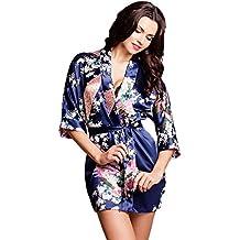 Noble robe kimono dressing de tailles de satin S-XXL
